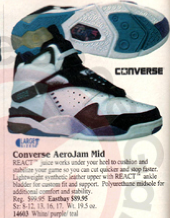 brand new e05fb eb5fe Converse Aero Jam Original 1993 94 White Purple Teal With React ...