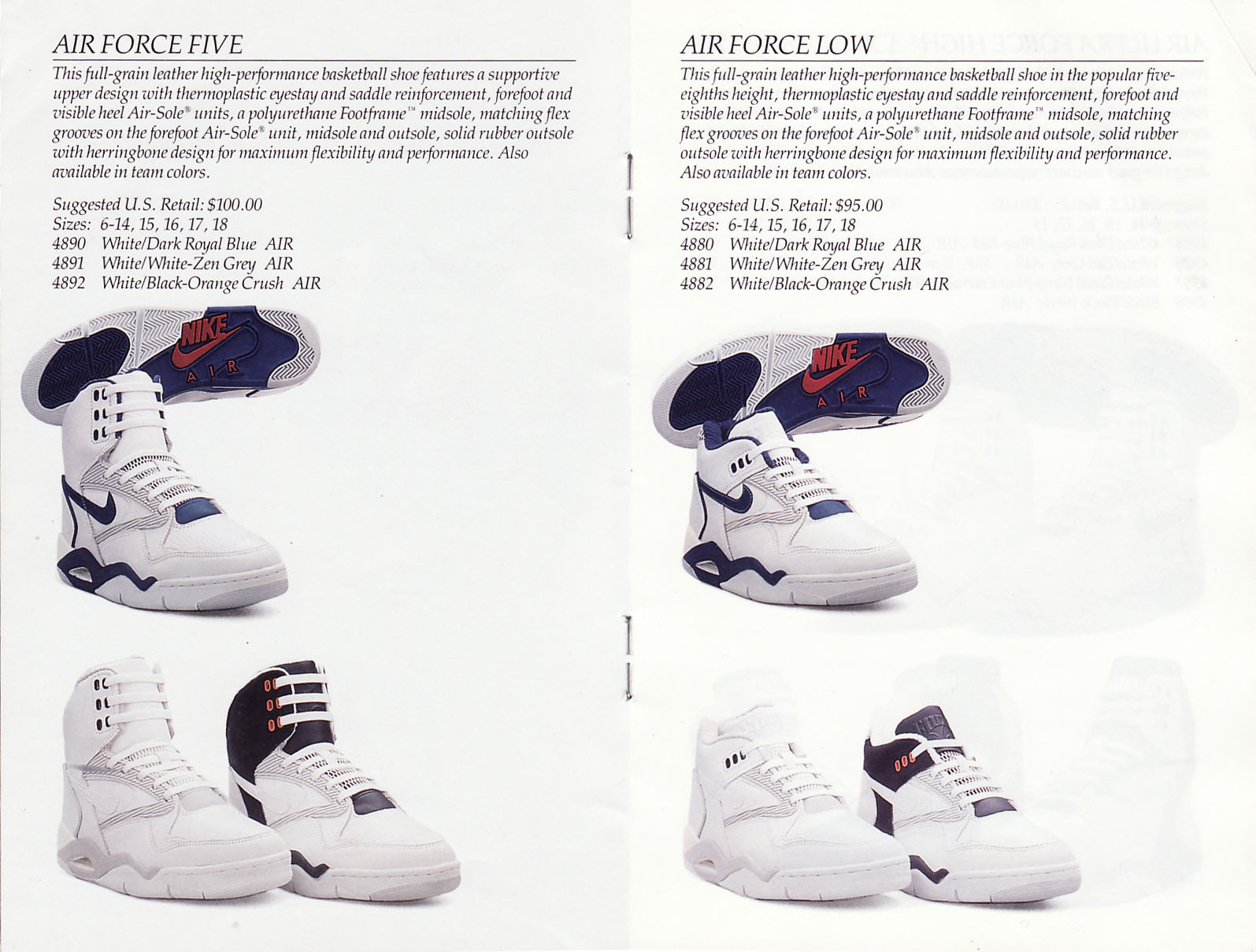 1990 nike air force v