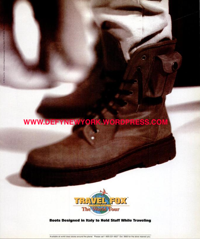 Travel Fox World Tour Boots Ad 1993 Defy New York